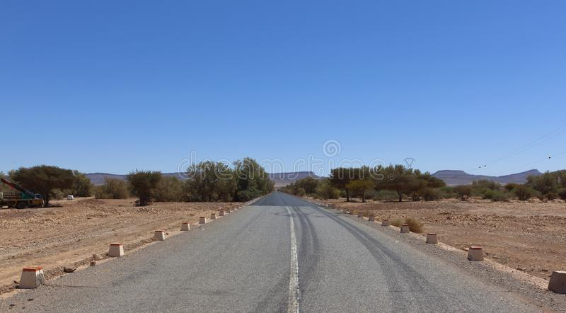 Moroccan rocky desert landscape stock photo
