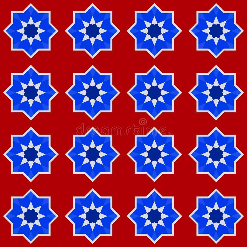 Moroccan seamless pattern, Morocco. Patchwork mosaic traditional folk geometric ornament burgundy navy blue cobalt red white. vector illustration