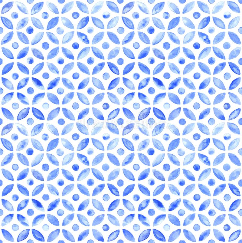 Moroccan simple seamless tile - navy watercolor. Seamless traditional hand painted watercolor moroccan tile pattern in fragmented circles. Beautiful indian ink vector illustration