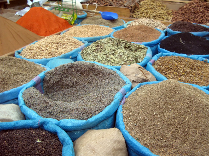 Moroccan Spices in Bulk stock photography