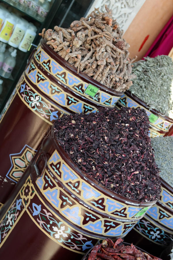 MOROCCAN SPICES. DRIED PEPPERS IN ARABIC BINS stock photo