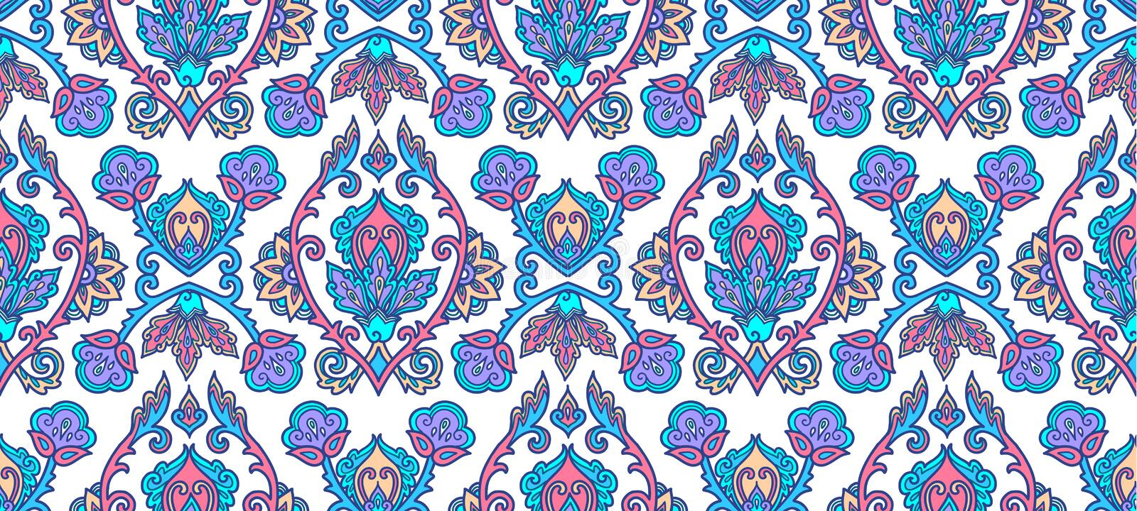 Moroccan style blue lineart traditional Turkish floral ornament on white background, vector seamless pattern tile royalty free illustration