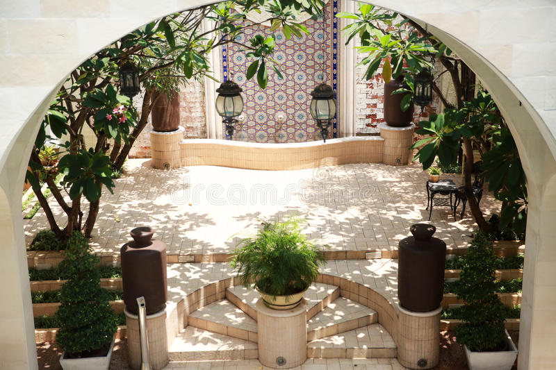 Moroccan style courtyards royalty free stock photo