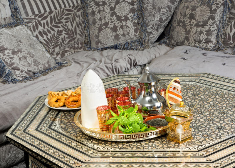 Moroccan sugar cone and tea stock image