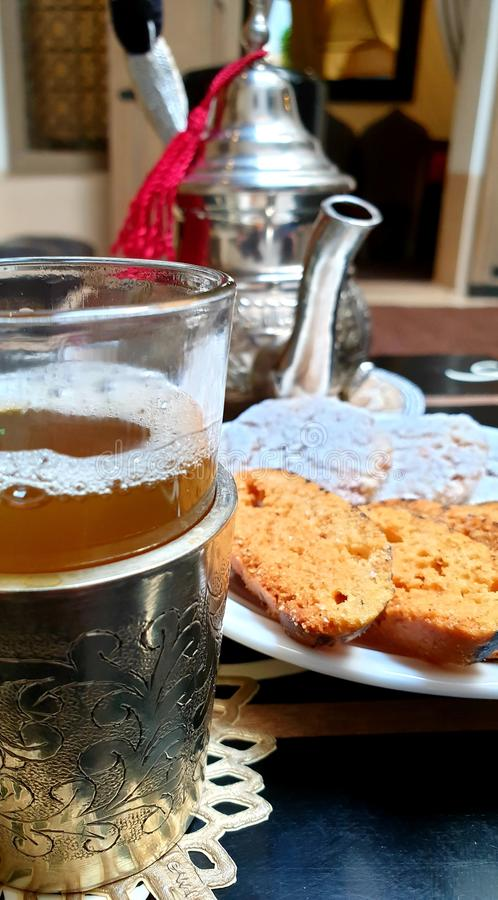 Moroccan Tea and Biscuits royalty free stock images