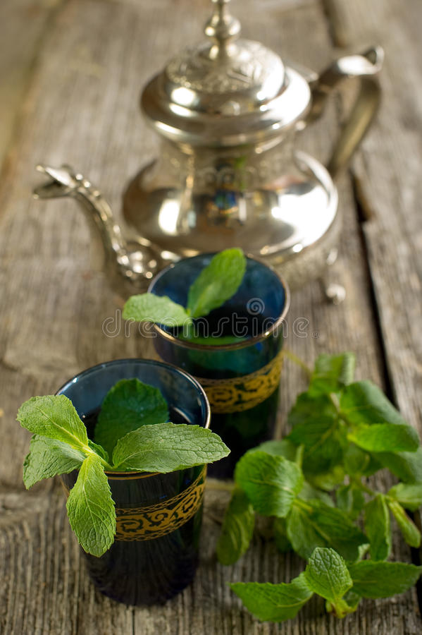 Moroccan tea with mint leaf royalty free stock photography