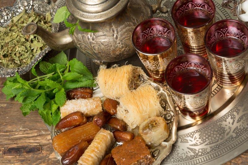 Moroccan tea tray stock photos