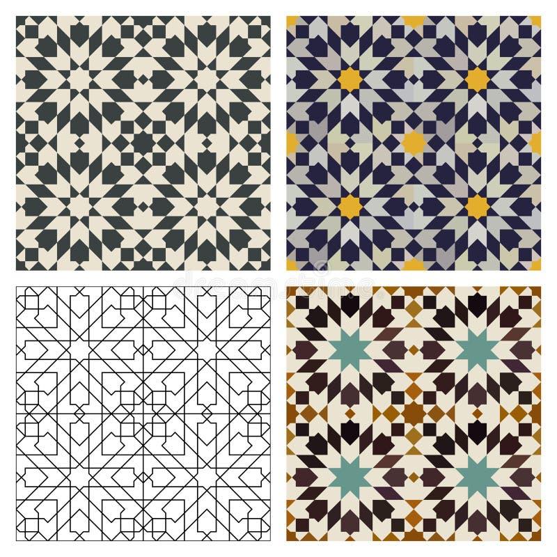 moroccan tegelplattor stock illustrationer