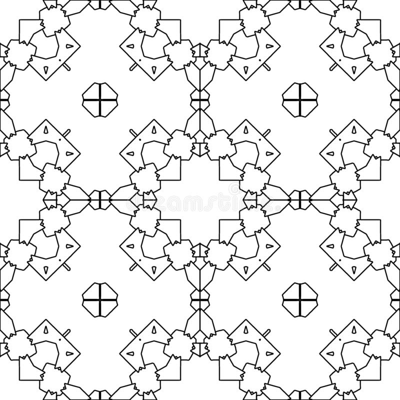 Moroccan tile retro motif. Colouring book page royalty free illustration
