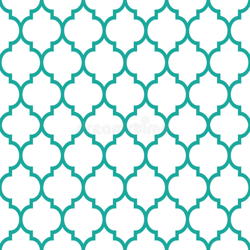 Moroccan Tiles Design Seamless Turqoise Pattern Geometric Background Stock Illustration