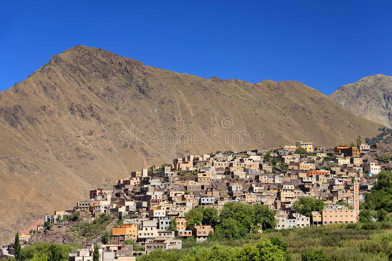 Moroccan village in the Anti-Atlas mountains royalty free stock photography
