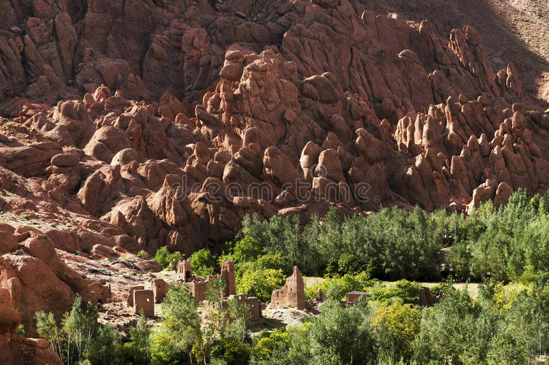 Moroccan village in Dades Valley royalty free stock image