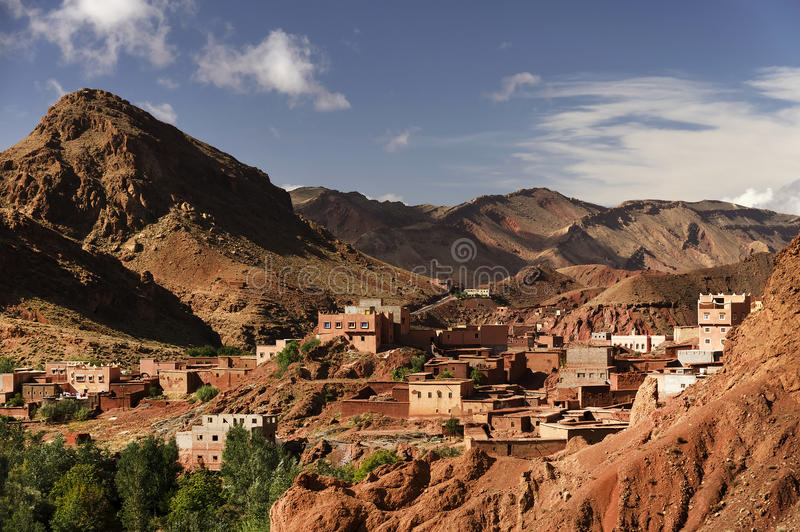 Moroccan village in Dades Valley royalty free stock photography