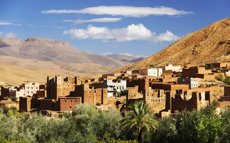 Moroccan village in Dades Valley royalty free stock images