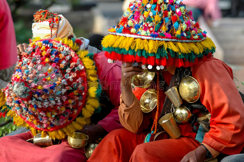 Moroccan water sellers. Unidentified water sellers on the street of Casablanca, Morocco. Water sellers are dressed in colorful dress, ringing brass bells and royalty free stock images