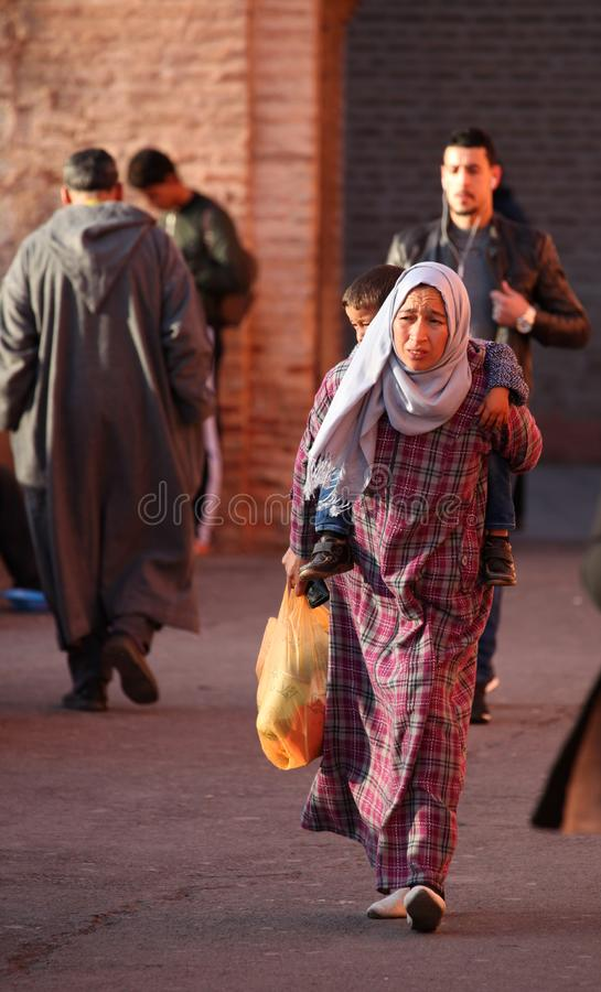 Moroccan Woman and Child stock images