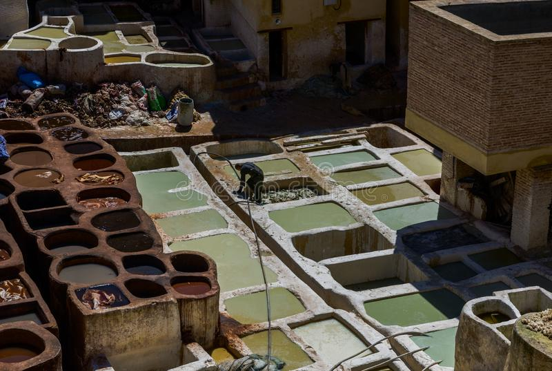 Morocco, Africa, Fez, Leather dyehouses of the city of Fez stock image