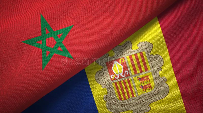 Morocco and Andorra two flags textile cloth, fabric texture. Morocco and Andorra two folded flags together vector illustration