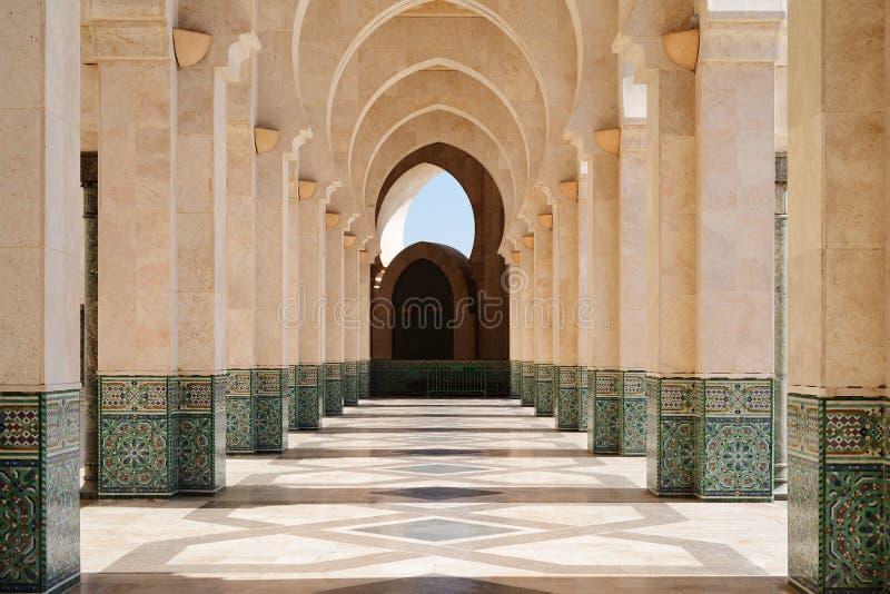 morocco Arcade de mosquée de Hassan II à Casablanca photographie stock libre de droits