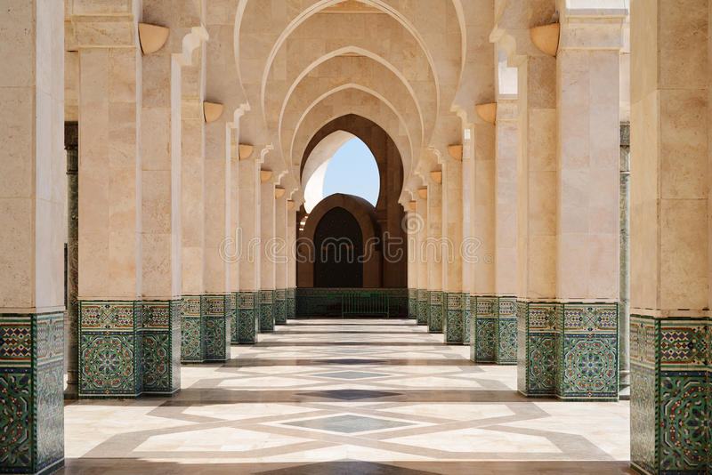 Morocco. Arcade of Hassan II Mosque in Casablanca royalty free stock photography