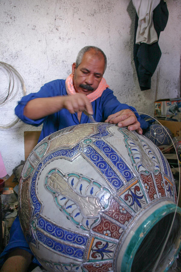 Morocco - Fez - decorator - man - ceramic - pot royalty free stock image