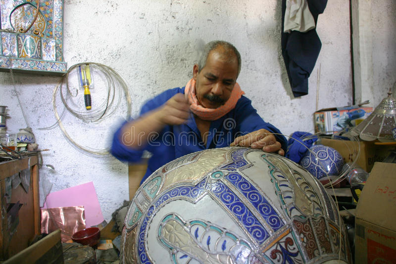 Morocco - Fez - decorator - man - ceramic - pot stock photography