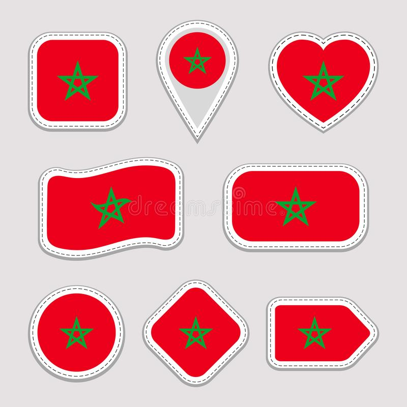 Morocco, flag vector set. Moroccan national flags stickers collection. Vector isolated geometric icons. Web, sports pages, patriot vector illustration