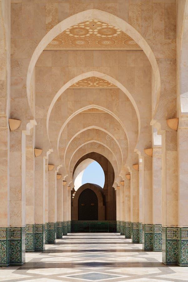morocco Galleri av den Hassan II moskén i Casablanca arkivbild