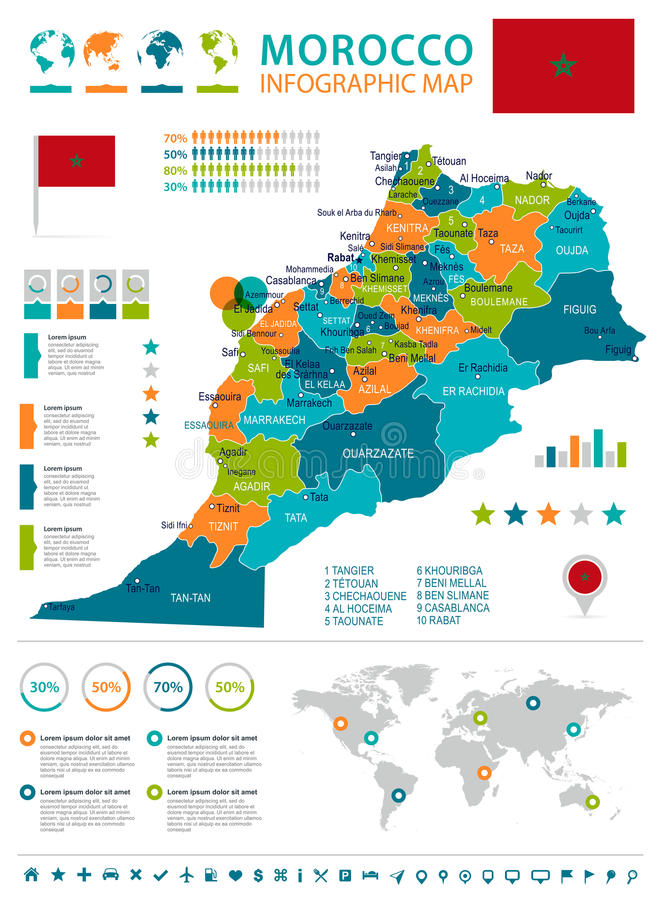 Morocco Infographic Map And Flag Illustration Stock Illustration
