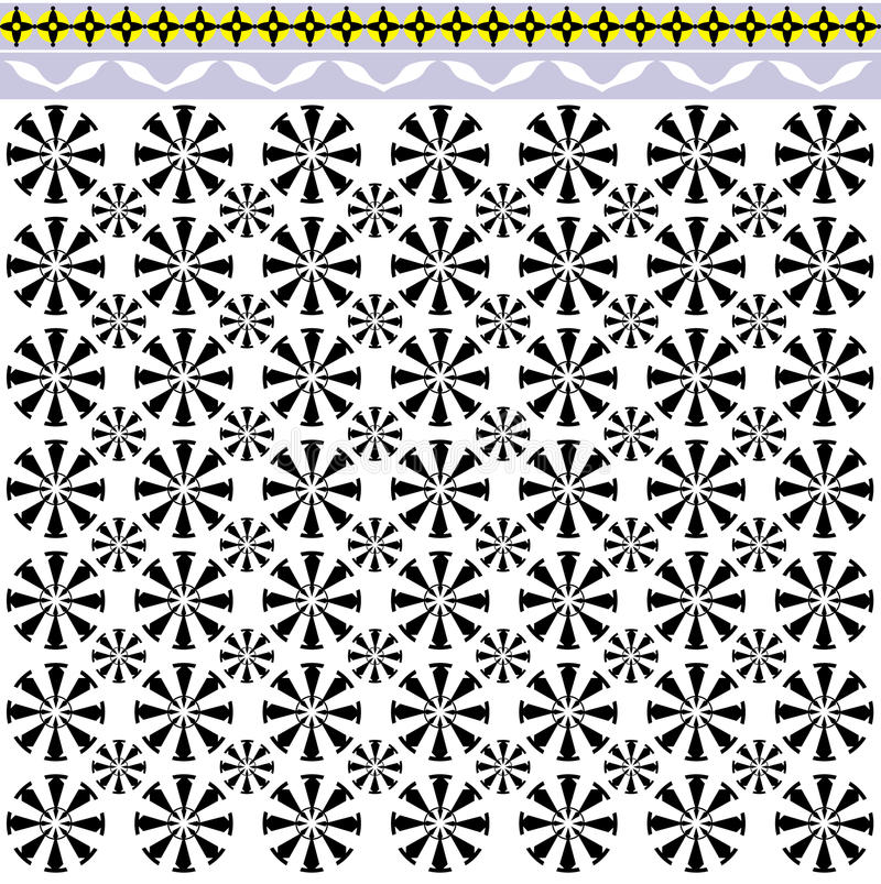 Morocco inspired ceramic. Ceramic tile circle pattern in cream and black with a yellow border inspired by Moroccan designs royalty free illustration