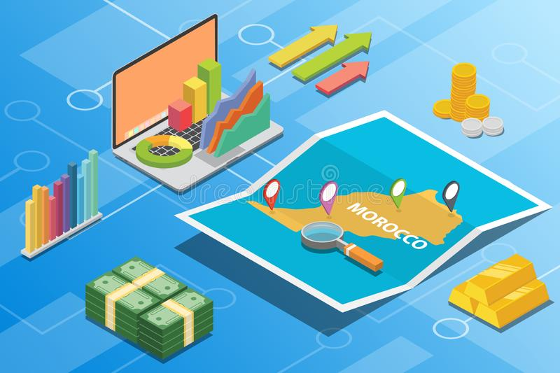 Morocco isometric financial economy condition concept for describe country growth expand - vector. Illustration royalty free illustration
