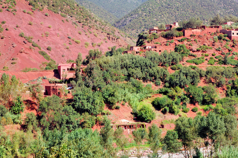 Morocco, : landscape of Ourika valley stock photography