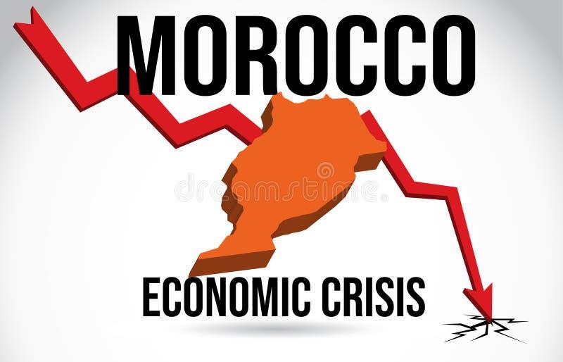 Morocco Map Financial Crisis Economic Collapse Market Crash Global Meltdown Vector. Illustration royalty free illustration