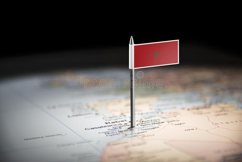 Morocco marked with a flag on the map stock photo