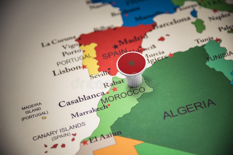 Morocco marked with a flag on the map stock image