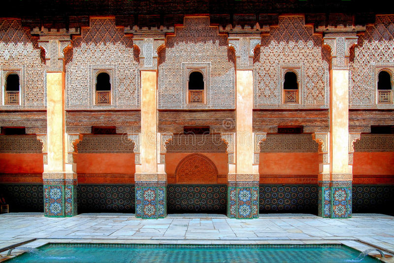 Morocco. Marrakech, Ali Ben Youssef Madrassa royalty free stock photography