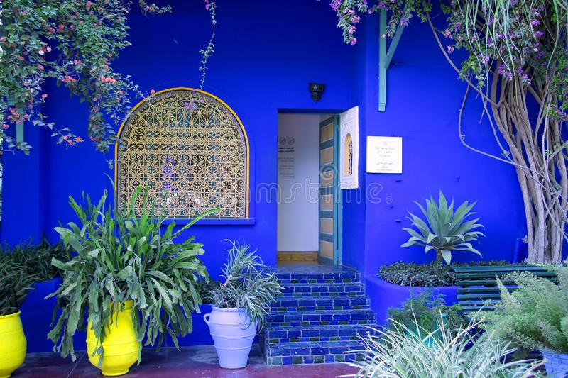 Morocco, Marrakech, Jardin Majorelle, a beautiful blue house stock images