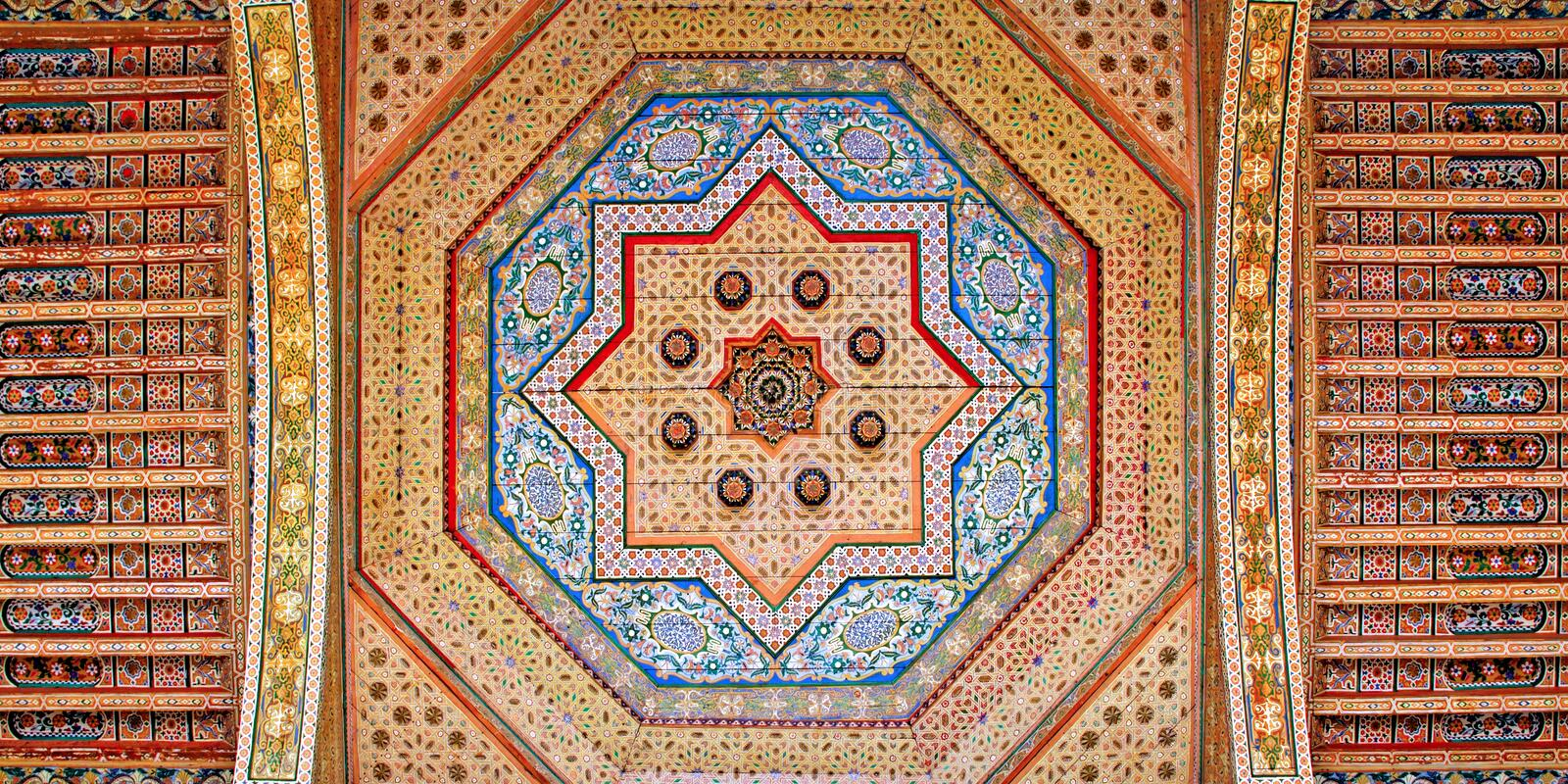 Morocco, Marrakesh: ceiling decoration stock images