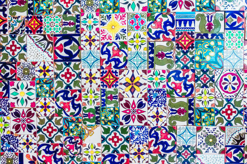 Morocco mosaic tiles textures stock photo