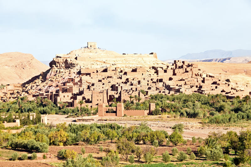 Morocco Ouarzazate - Ait Ben Haddou Medieval Kasbah. UNESCO World Heritage Site. Location for many films - Gladiator, Babel, Alexander, Sheltering Sky, Sodom royalty free stock photography