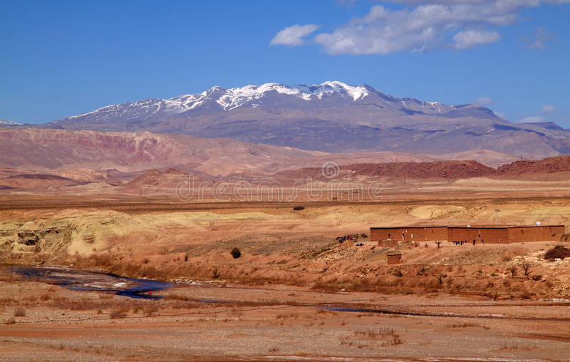 Morocco Ouarzazate river valley. Morocco Ouarzazate - panorama of the river valley between Ouarzazate and Ait Ben Haddou in the late afternoon sunshine with snow royalty free stock photography