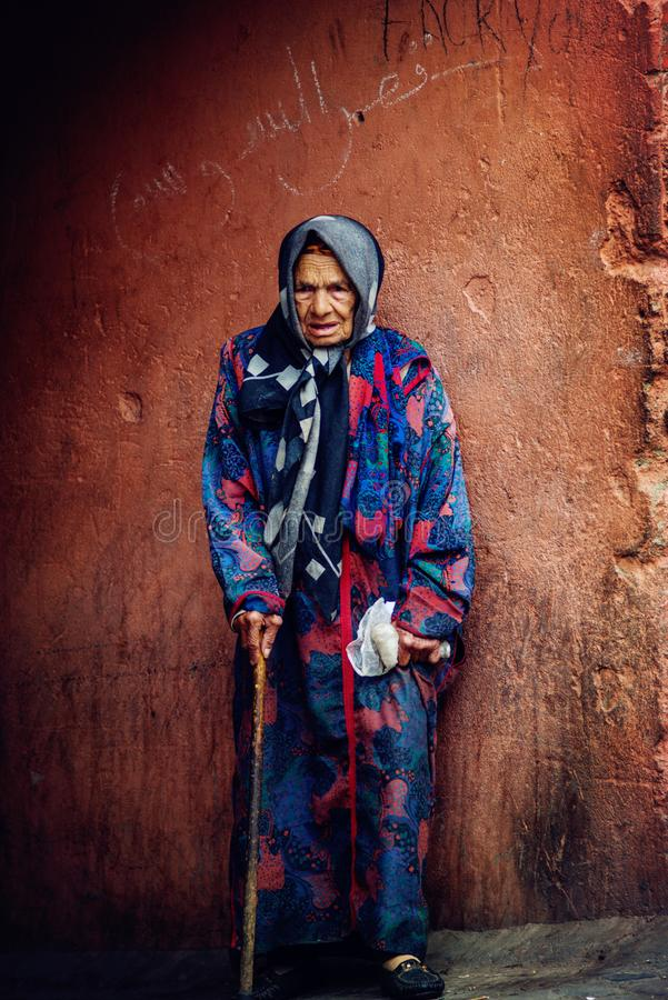 A poor old lady in slum editorial stock photo. Image of
