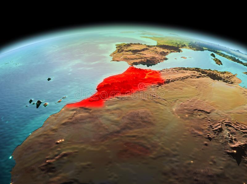 Morocco on planet Earth in space. Morning above Morocco highlighted in red on model of planet Earth in space. 3D illustration. Elements of this image furnished stock image