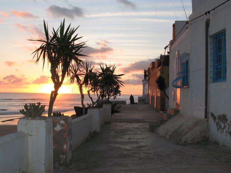 morocco solnedgångtaghazout arkivfoton