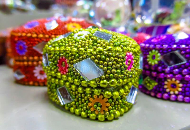 Morocco souvenir jewelry boxes stock image