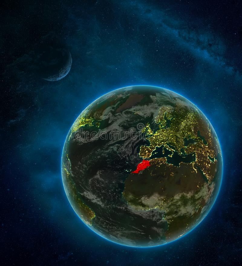 Morocco from space on Earth at night surrounded by space with Moon and Milky Way. Detailed planet with city lights and clouds. 3D. Illustration. Elements of vector illustration
