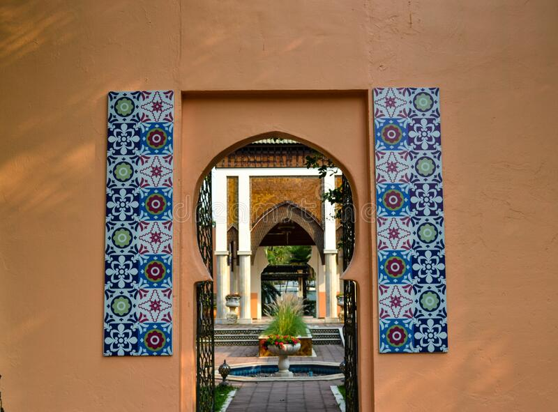 Morocco-style architecture at international botanical park in Chiangmai of Thailand royalty free stock photos