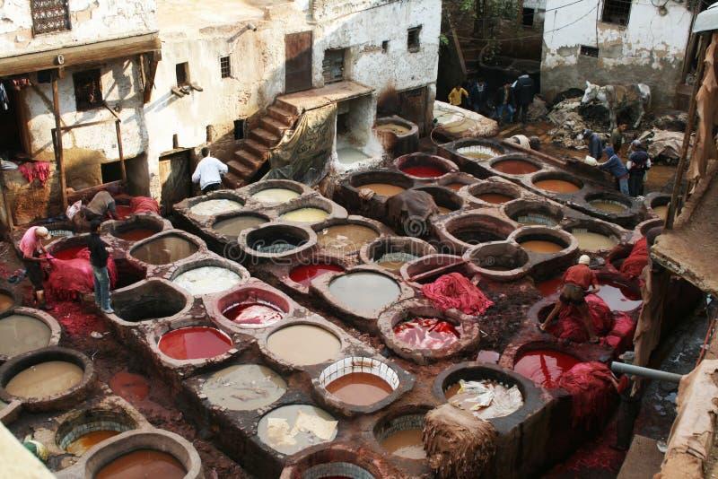 morocco tannery royaltyfria bilder