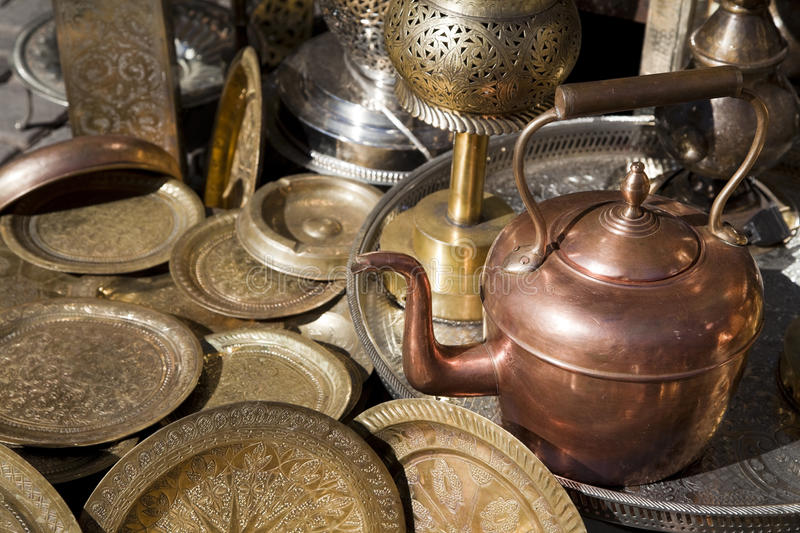 Morocco teapot. Handicrafts to Marrakech royalty free stock photography