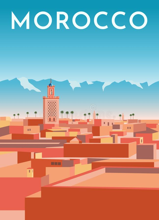 Free Morocco Travel Retro Poster, Vintage Banner. Panorama Of Marrakech City With Houses, Mosque, Mountains. Flat Vector Illustration Stock Photos - 160738833